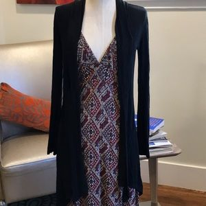 Zara Basic Black Tie Neck Cardigan